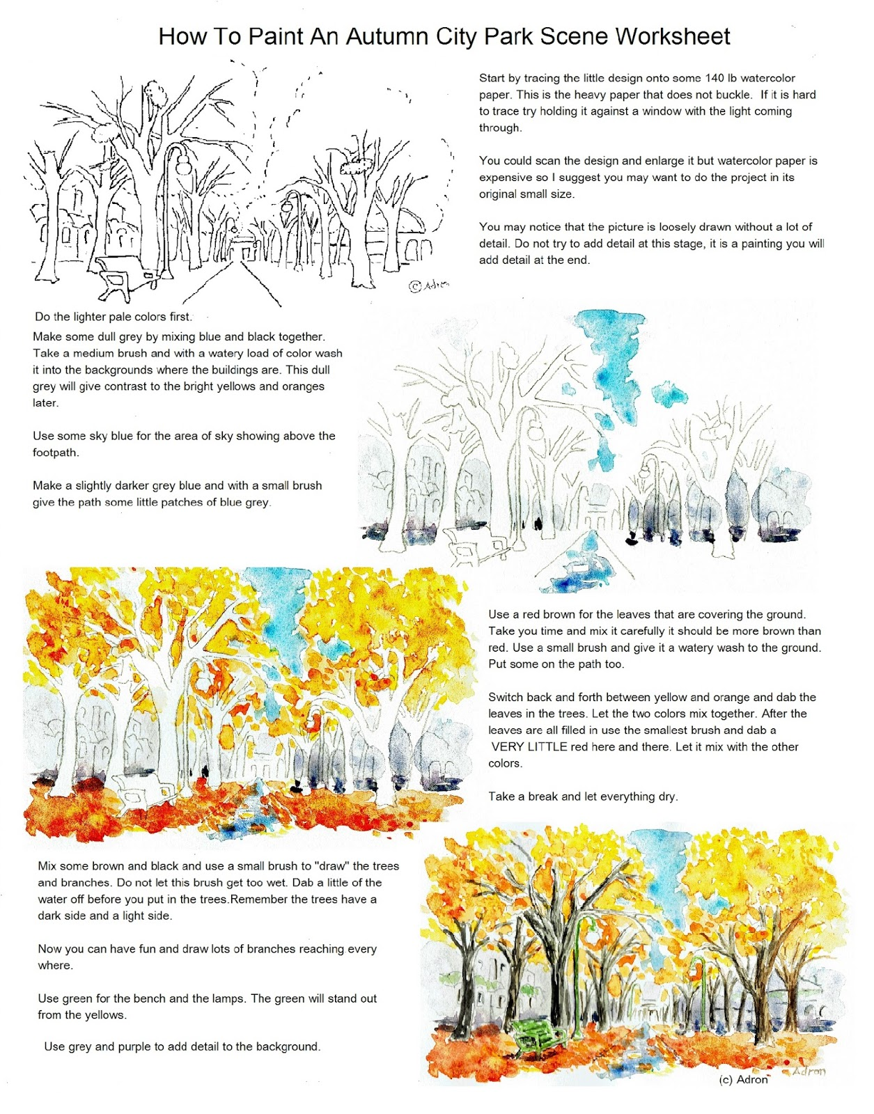 Adron S Art Lesson Plans How To Paint An Autumn City Park