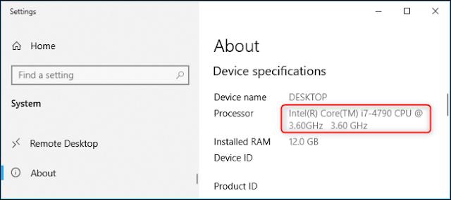 اسم طراز المعالج في تطبيق إعدادات Windows 10