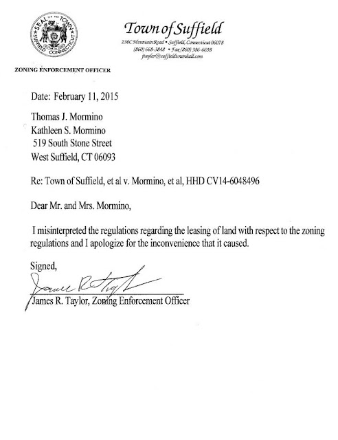 Apology letter from Suffield, Ct Zoning enforcement officer, James R. Taylor