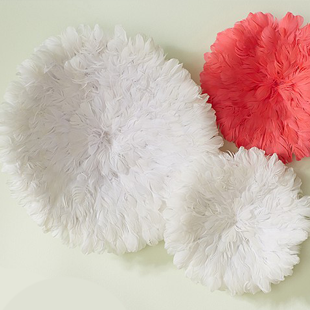 Copy Cat Chic Neiman Marcus White Feather Headdress Wall