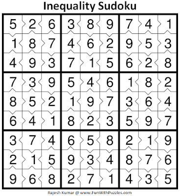 Answer of Inequality Sudoku Puzzle (Fun With Sudoku #370)