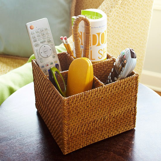 Use baskets for organizing remote controls in the family room:: OrganizingMadeFun.com