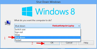 cara mematikan laptop windows 8