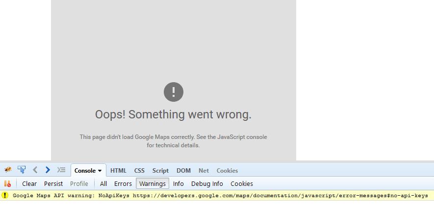 Google Map Warning NoApiKeys API Error [How To] - Angular
