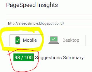 Kecepatan loading saat dibuka melalui Mobile