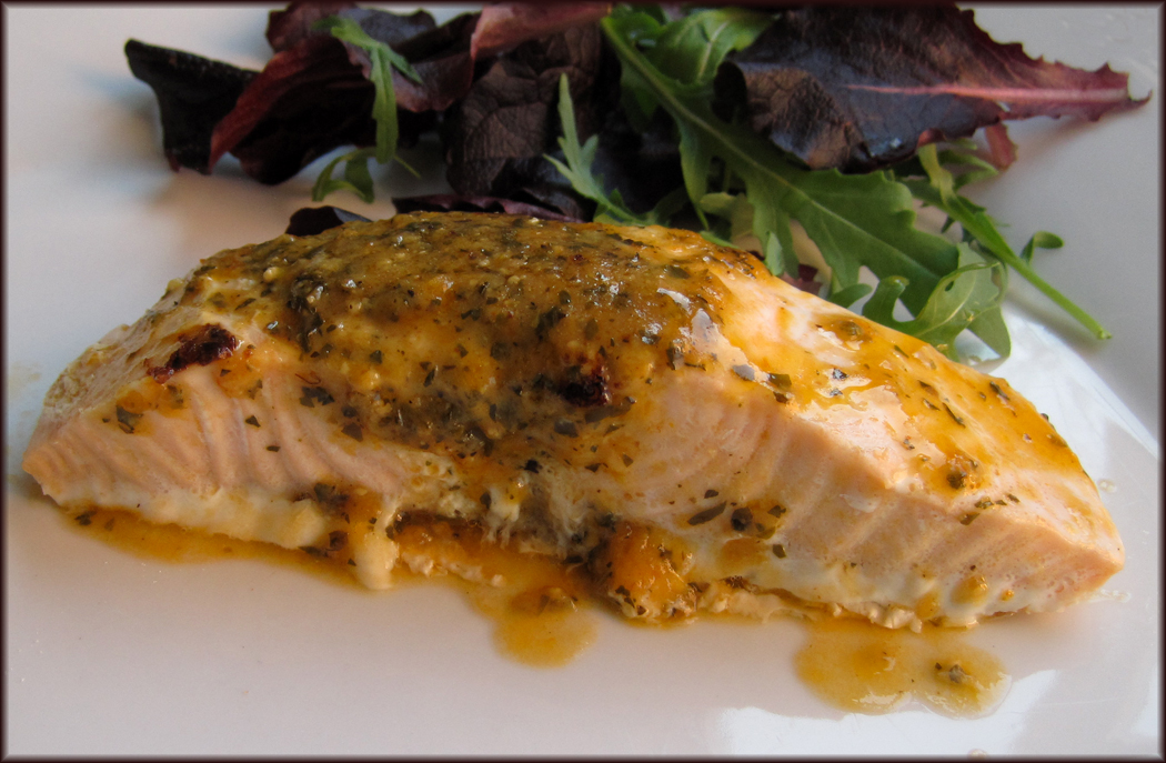 Salmon with Red Pesto Style Dressing