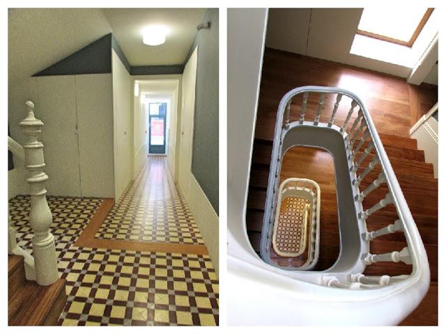 corredor e escada antiga em edifício histórico no centro do Porto