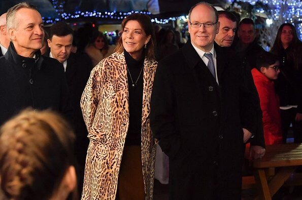The Christmas village of Monaco 2019 at Hercule Harbour. Max Mara Zimmermann leopard print denim coat in beige