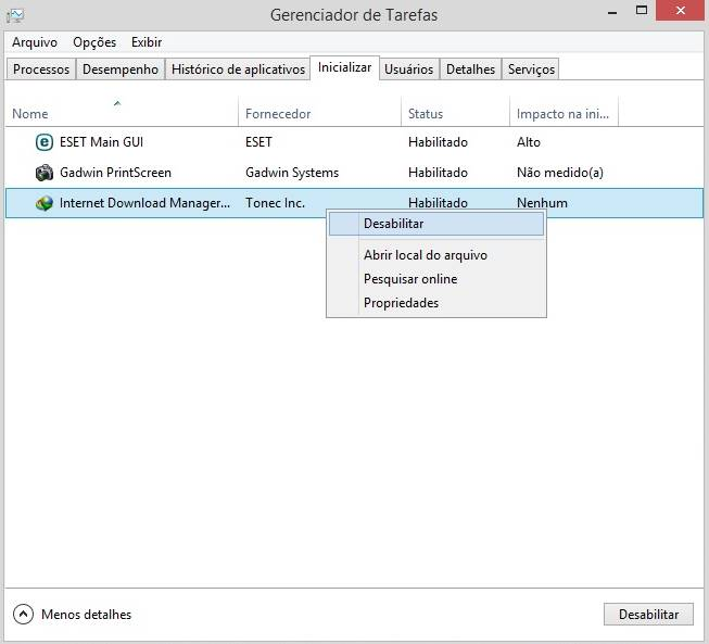 Desabilitar programas que iniciam junto com o Windows 8 ou 8.1