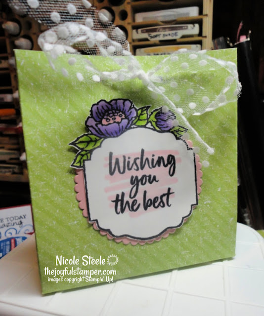 tags in bloom gift bag | Stampin' Up! Sale-A-Bration set | uses half sheet of Designer Series paper