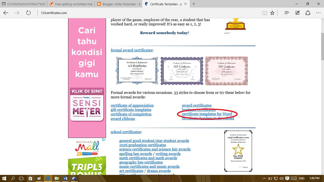 Anita Wulandari Certificate