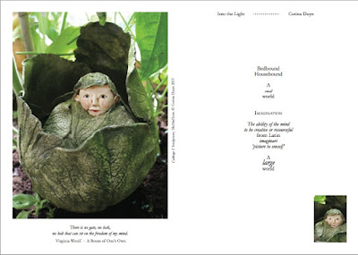 page from Into the Light book by Corina Duyn with sculpture of a caggabe with a little head coming out.