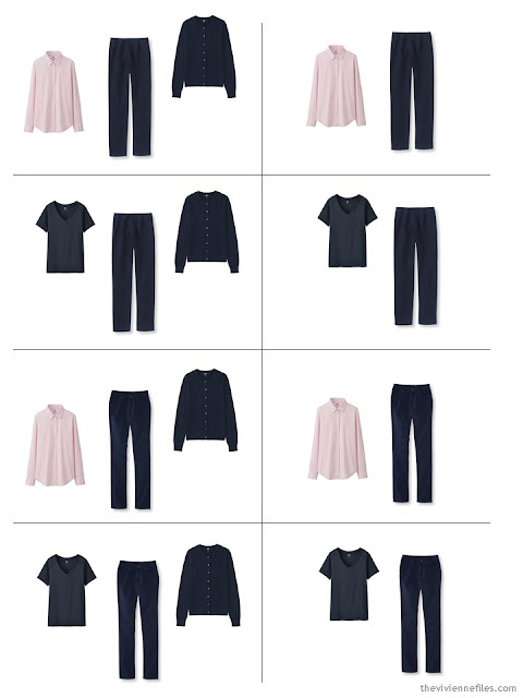 8 outfits from the Starting From Scratch wardrobe in navy, khaki, pink and blue