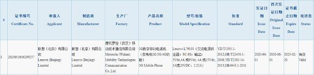 LENOVO LEGION SMARTPHONE PASSES 3C CERTIFICATE