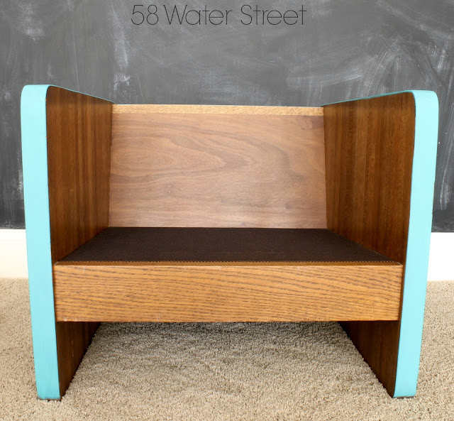 58 Water Street: wood chair makeover with turquoise paint and modern fabric