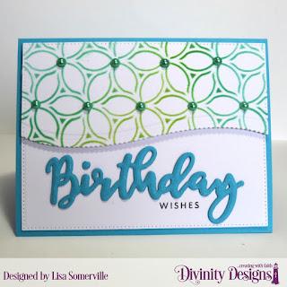 Divinity Designs Stamp/Die Duos: Birthday, Custom Dies: Pierced Rectangles, Leafy Edged Borders, Mixed Media Stencils: Petals