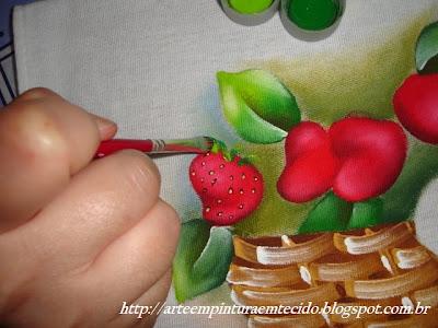 pintura em tecido como fazer morango