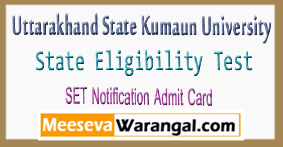 Uttarakhand SET Notification Admit Card 2018