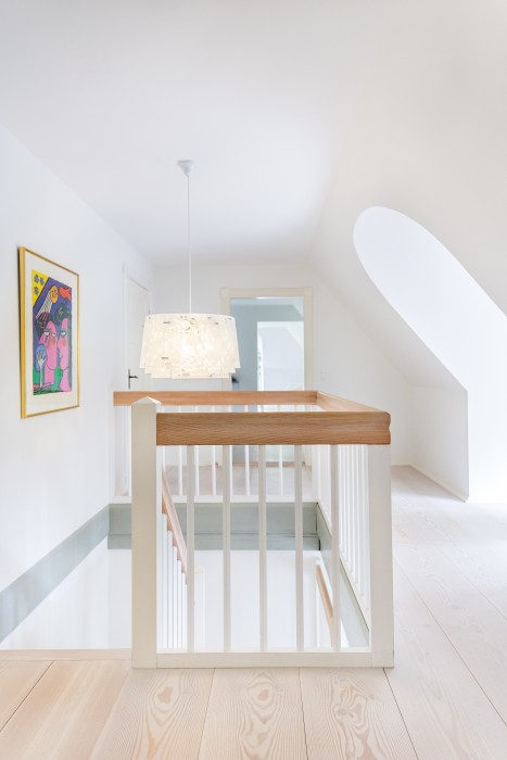 Modern stairway in European farmhouse on Hello Lovely Studio