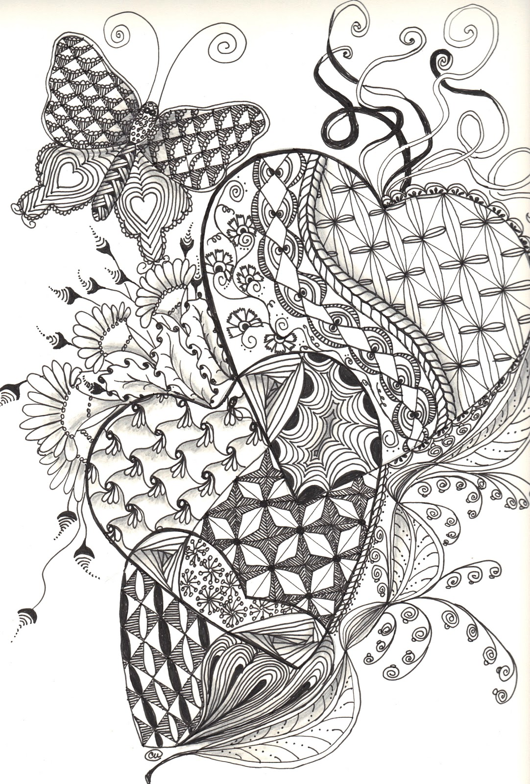 Zentangle Butterfly Coloring Page Hand Drawn Butterfly In