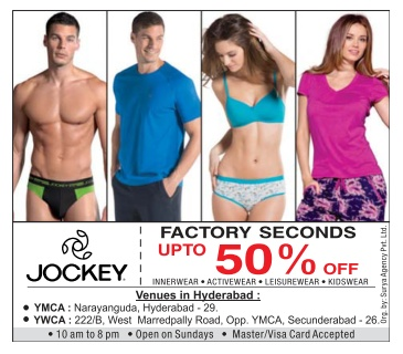Factory seconds ! Up to 50% off sale in Jockey @ Delhi  | January 2017 Offer sale