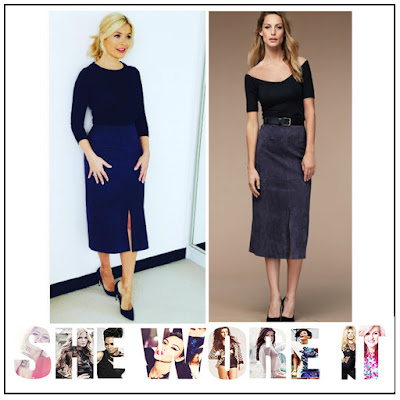 Baukjen, Dark Blue, Front Split, High Waisted, Holly Willoughby, Midi Skirt, Pencil Skirt, Skirt, Suede, Textured, This Morning,