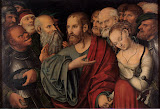 Christ and the Woman Taken in Adultery by Lucas Cranach - Christianity, Religious Paintings from Hermitage Museum