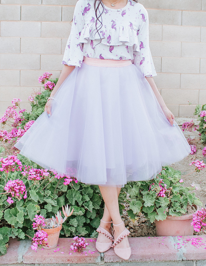 unicorn print ruffle blouse with lavender tulle skirt outfit