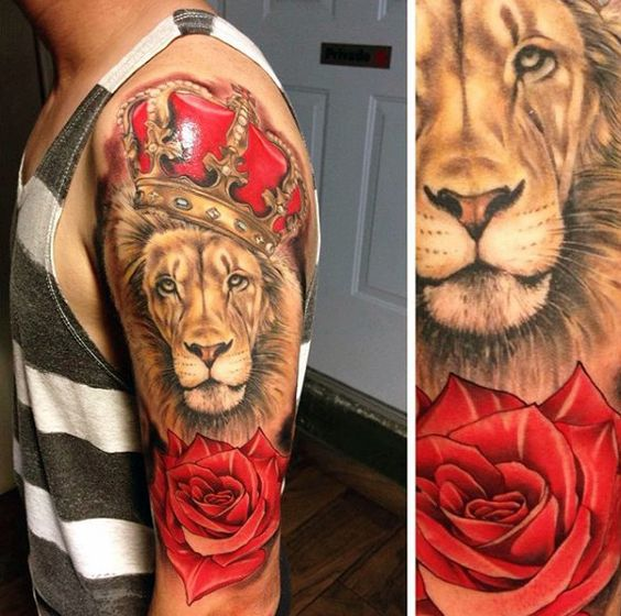 Colorful lion and rose tattoos for men