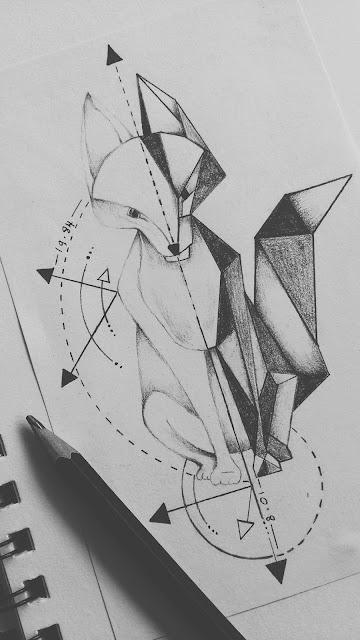 geometrical,fox,tattoo,design, fox tattoo