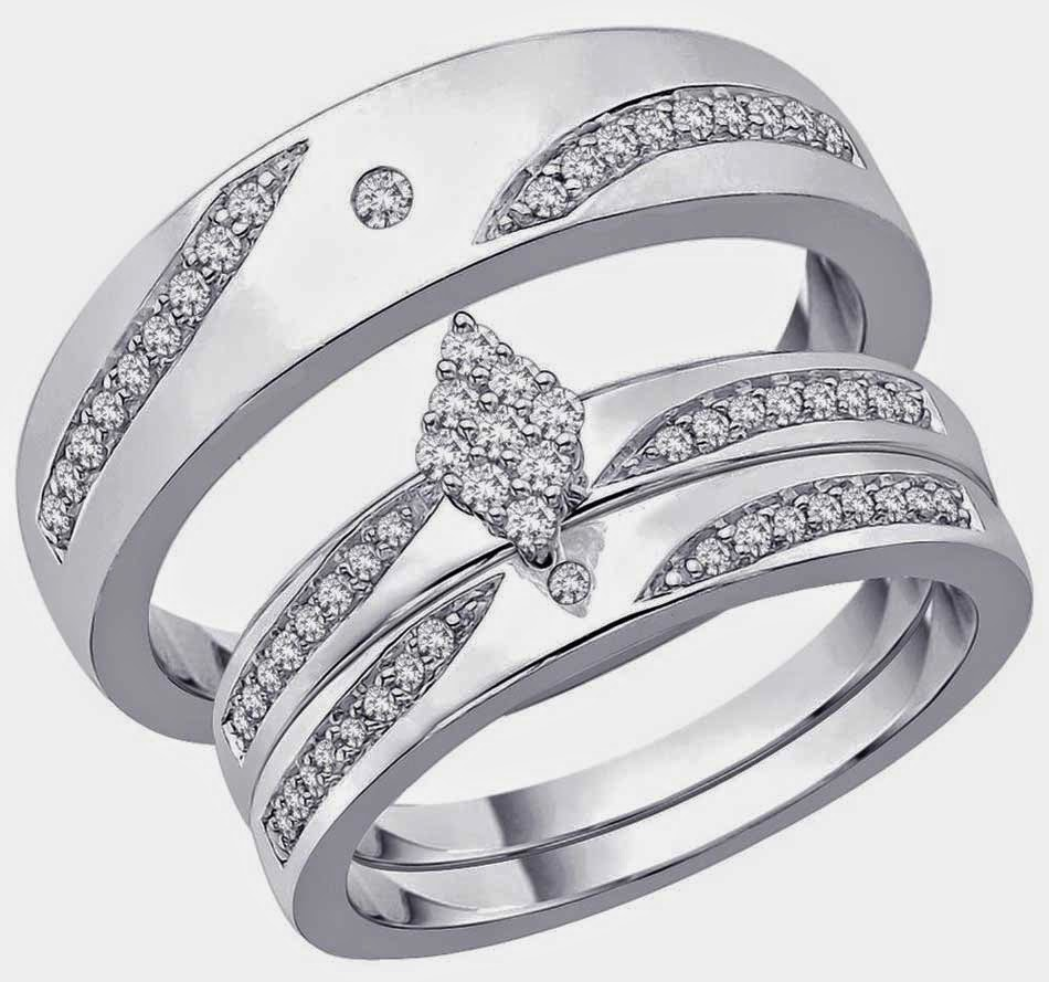 rhombus diamond trio wedding ring sets jared design - Jared Wedding Rings For Her
