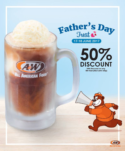 A&W Malaysia RB Float Half Price Discount Father's Day Promo
