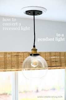 how to convert a can light to a pendant light non electrical tutorial. Black Bedroom Furniture Sets. Home Design Ideas