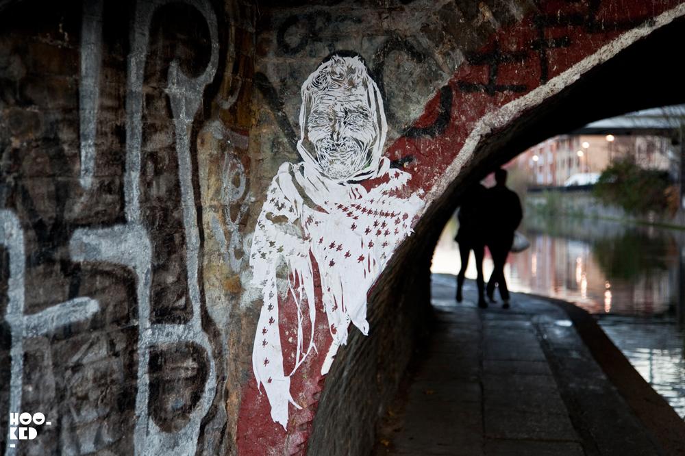 London street art on Regents Canal by New York based street artist Swoon
