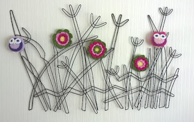 owls,crochet,flowers, metal art