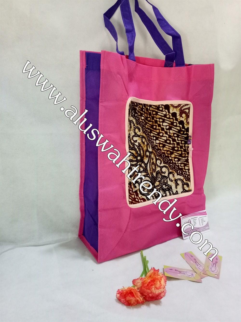 Tas Belanja Lipat Pink Motif Batik 014