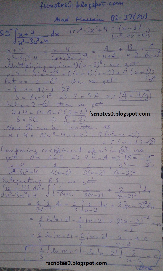 FSc ICS Notes Math Part 2 Chapter 3 Integration Exercise 3.5 question 12 - 22 by Asad Hussain 2