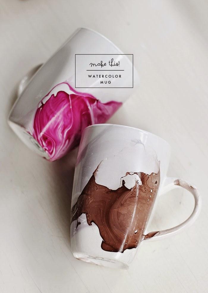 diy watercolor mug poppytalk. Black Bedroom Furniture Sets. Home Design Ideas