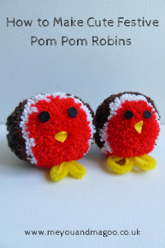 tutorial for making pom pom robins pinterest image