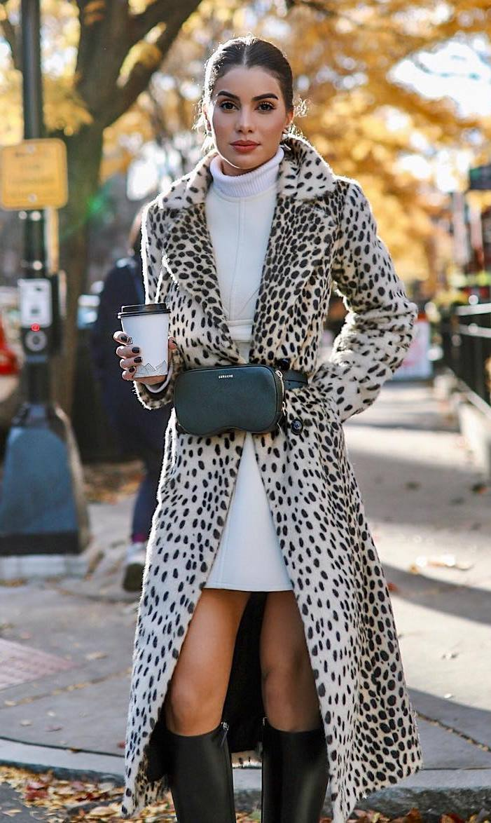 how to wear a leopard coat : white sweater dress + high boots + waist bag