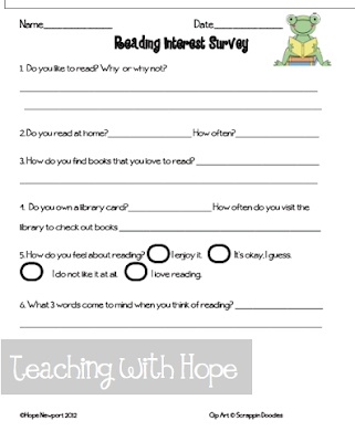 8e95e6f687e Reading Interest Survey First Grade