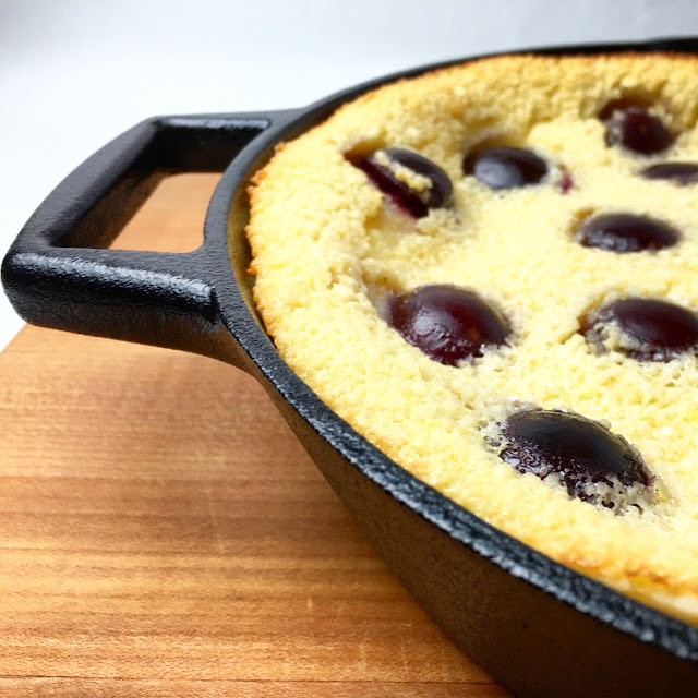 Close Up of Baked Clafoutis in Cast Iron Pan