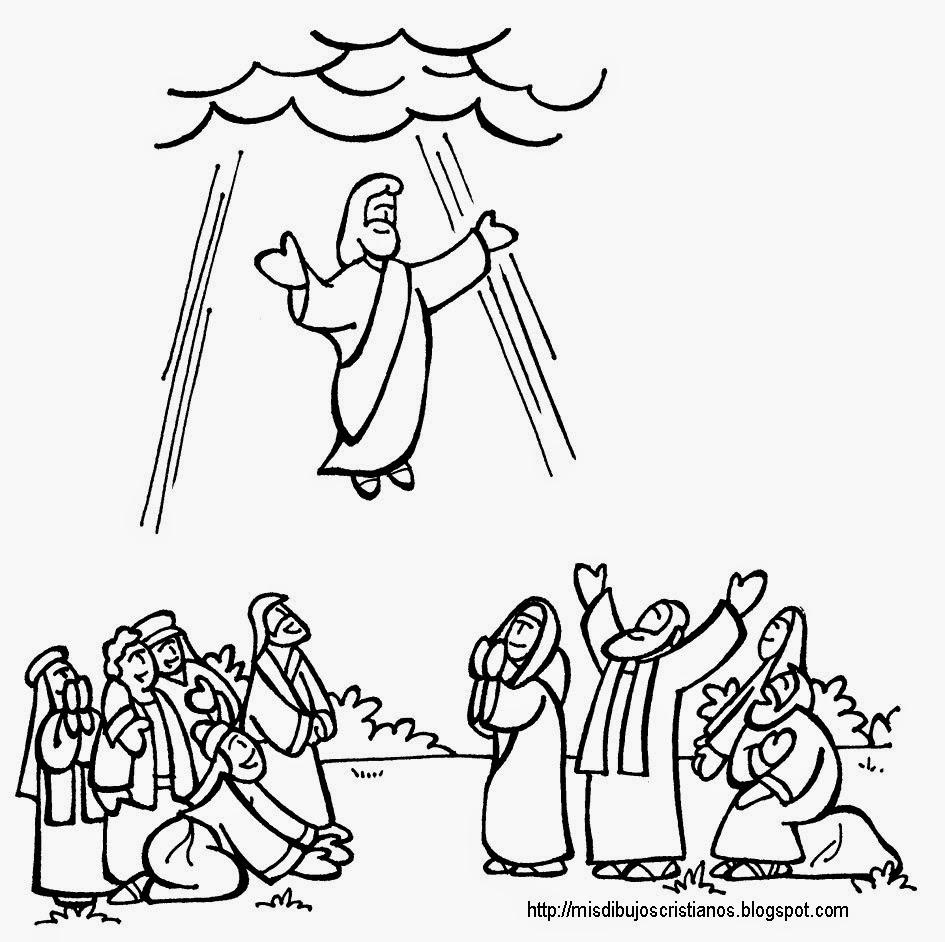 Educar con jes s ascensi n al cielo mt 28 16 20 for Picture into coloring page