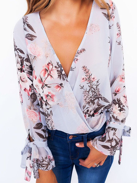Floral Print V-Neck Cross Front Blouses