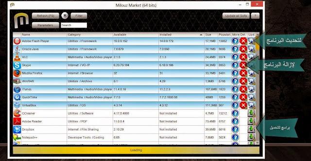 برنامج Milouz Market لتحميل وتثبيت أي برنامج تبحث عنه  و تحديث البرامج على حاسوبك وإزالتها من جذورها