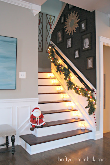 Black wall on stairs