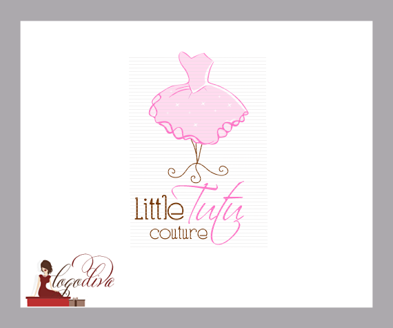 Fashion and Couture Logos - Pink Tutu on Stand by Logo Diva