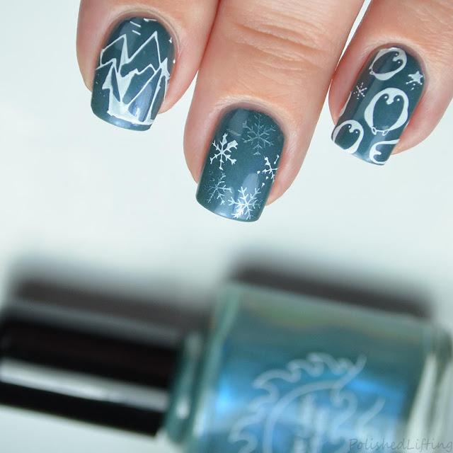 penguin winter nail art