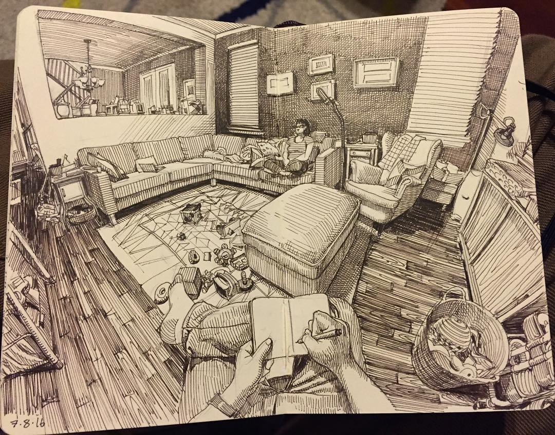 14-Living-Room-Paul-Heaston-Urban-Sketcher-Inserts-Himself-in-the-Drawing-www-designstack-co