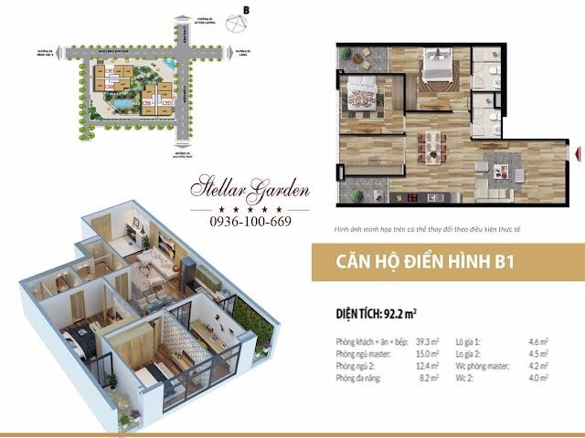 Layout mặt bằng căn hộ 92,2m2 dự án Stellar garden 35 Lê Văn Thiêm